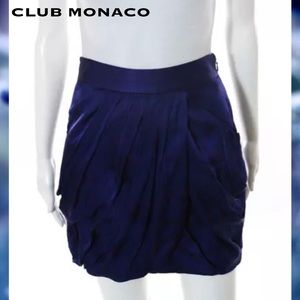 CLUB MONACO Blue/Blk Abstract Pleated Silk Skirt